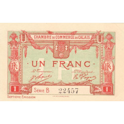 Calais - Pirot 36-41 - 1 franc - Série B - 7e émission (1919) - Etat : SPL