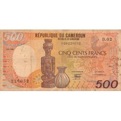 Cameroun - Pick 24a2 - 500 francs - 01/01/1986 - Etat : B+ à TB-