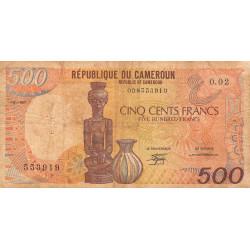 Cameroun - Pick 24a3 - 500 francs - 01/01/1987 - Etat : B+ à TB-