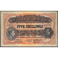 Afrique de l'Est Anglaise - Pick 28a - 5 shillings - 01/07/1941 - Etat : TTB