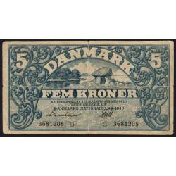 Danemark - Pick 30e - 5 kroner - Série G - 1940 - Etat : TB+