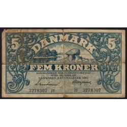 Danemark - Pick 30g - 5 kroner - Série H - 1942 - Etat : B
