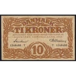 Danemark - Pick 31n - 10 kroner - Série T - 1943 - Etat : TTB