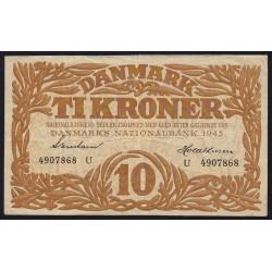 Danemark - Pick 31o - 10 kroner - Série U - 1943 - Etat : TTB