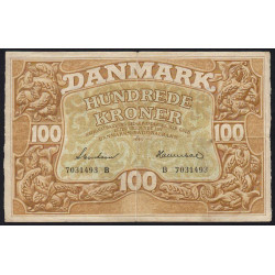 Danemark - Pick 33d - 100 kroner - Série B - 1943 - Etat : TTB