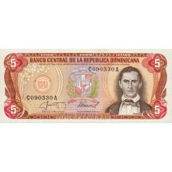 Rép. Dominicaine - Pick 118c3 - 5 pesos oro - 1987 - Etat : NEUF