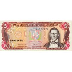 Rép. Dominicaine - Pick 131 - 5 pesos oro - 1990 - Etat : SPL
