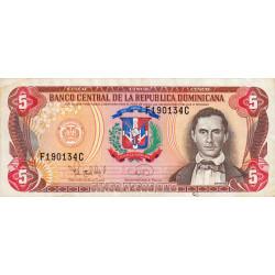Rép. Dominicaine - Pick 147 - 5 pesos oro - 1995 - Etat : TTB