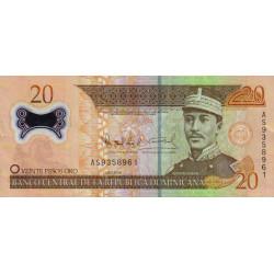 Rép. Dominicaine - Pick 182 - 20 pesos oro - 2009 - Polymère - Etat : TTB