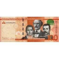 Rép. Dominicaine - Pick 190a - 100 pesos dominicanos - 2014 - Etat : NEUF