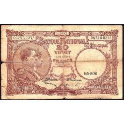 Belgique - Pick 111_5 - 20 francs - 24/03/1947 - Etat : B