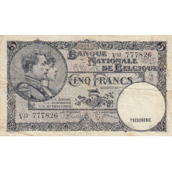 Belgique - Pick 108_1 - 5 francs - 1938 - Etat : TB