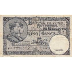 Belgique - Pick 108a - 5 francs - 09/04/1938 - Etat : TB