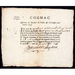 Charente - Cognac - Louis XV - 1736 - Dixième des Nobles - 240 livres - Etat : SUP
