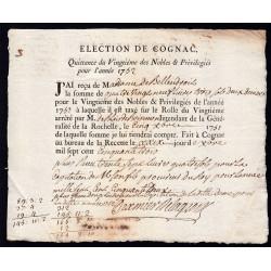 Charente - Cognac - Louis XV - 1752 - Vingtième des Nobles - 89 livres - Etat : SUP