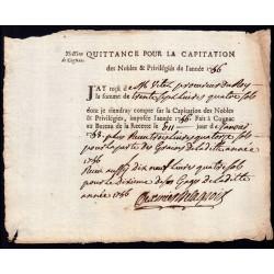 Charente - Cognac - Louis XV - 1756 - Capitation des Noble - 37 livres - Etat : SUP