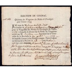 Charente - Cognac - Louis XV - 1758 - Vingtième des Nobles - 163 livres - Etat : SUP
