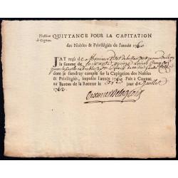 Charente - Cognac - Louis XV - 1760 - Capitation des Noble - 75 livres - Etat : SUP