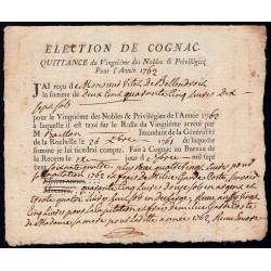 Charente - Cognac - Louis XV - 1762 - Vingtième des Nobles - 245 livres - Etat : SUP