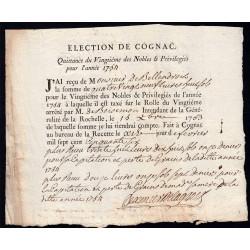 Charente - Cognac - Louis XV - 1754 - Vingtième des Nobles - 89 livres - Etat : SUP