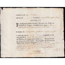 Charente - Cognac St-Sulpice - Louis XV - 1751 - Capitation des Privélégiés - 37 livres - Etat : TTB+