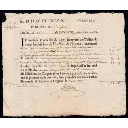 Charente - Cognac St-Sulpice - Louis XV - 1755 - Vingtième des Nobles - 89 livres - Etat : SUP