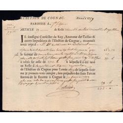 Charente - Cognac St-Sulpice - Louis XV - 1757 - Double Vingtième des Nobles - 163 livres - Etat : TB