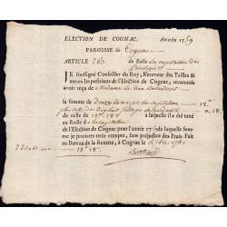 Charente - Cognac - Louis XV - 1759 - Capitation des Privilégiés - 12 livres - Etat : SUP