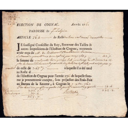 Charente - Cognac St-Sulpice - Louis XV - 1761 - Trois Vingtièmes des Nobles - 42 livres - Etat : TTB