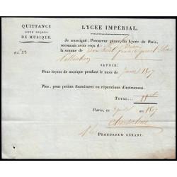 Seine - Paris - 1er empire - 1807 - Quittance Lycée Impérial - 18 francs - Etat : SUP