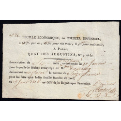 Seine - Paris - 1er empire - 1806 - Feuille Economique - 16 francs - Etat : SUP