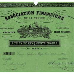 Vendée - La Roche-sur-Yon - Napoléon III - 1853 - Association Financière - 500 francs - Etat : TB