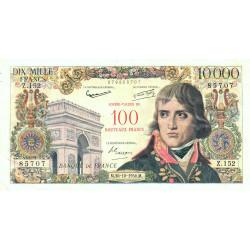 F 55-01 - 30/10/1958 - 100 nouv. francs sur 10000 francs - Bonaparte - Série Z.152 - Etat : TTB