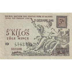 5 kg tôles minces - 31-12-1948 - Endossé - Etat : TTB+