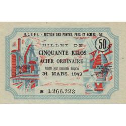 50 kg acier ordinaire - 31-03-1949 - Endossé à Reichshoffen (67) - Etat : SPL