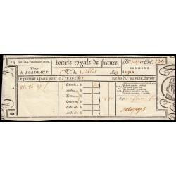1823 - Bordeaux - Loterie Royale de France - 1 franc 50 centimes - Etat : SUP