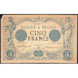 F 01-02 - 25/01/1872 - 5 francs - Noir - Etat : B