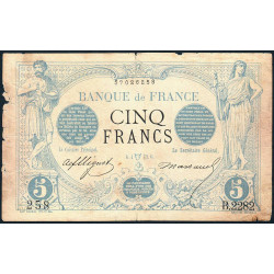 F 01-17 - 06/04/1873 - 5 francs - Noir - Etat : B+ à TB-