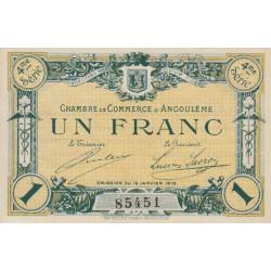 Angoulême - Pirot 9-27 - 1 franc - 4ème série - 15/01/1915 - Etat : SUP