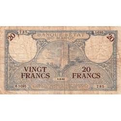 Maroc - Pick 18b_3 - 20 francs - Série O.1695 - 01/03/1945 - Etat : B+