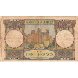 Maroc - Pick 20_4 - 100 francs - 01/03/1945 - Etat : B+