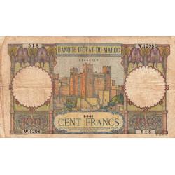 Maroc - Pick 20_4 - 100 francs - Série W.1298 (billet de remplacement) - 01/03/1945 - Etat : B+