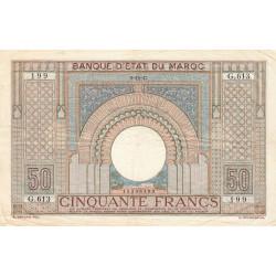 Maroc - Pick 21_2 - 50 francs - Série G.613 - 09/11/1942 - Etat : TTB