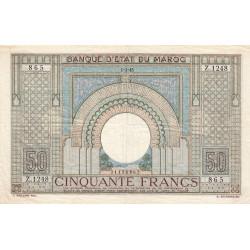 Maroc - Pick 21_3 - 50 francs - Série Z.1248 - 01/03/1945 - Etat : TTB