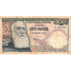 Congo Belge - Pick 33a - 100 francs - 01/06/1956 - Série L - Etat : B+