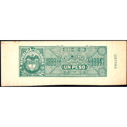 Colombie - Billet train 1893 - 1 peso - Etat : TTB