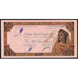 Maroc - Chèque de voyage - 10'000 francs - 21/07/1958 - Casablanca - Etat : TTB+