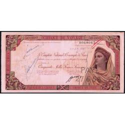Maroc - Chèque de voyage - 50'000 francs - 14/06/1958 - Khouribga - Etat : TTB+