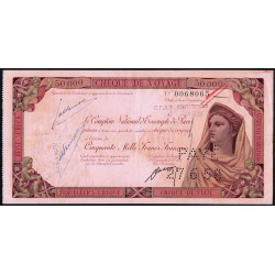 Maroc - Chèque de voyage - 50'000 francs - 1958 - Khouribga - Etat : TTB+