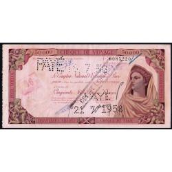 Maroc - Chèque de voyage - 50'000 francs - 24/06/1958 - Khouribga - Etat : TTB+